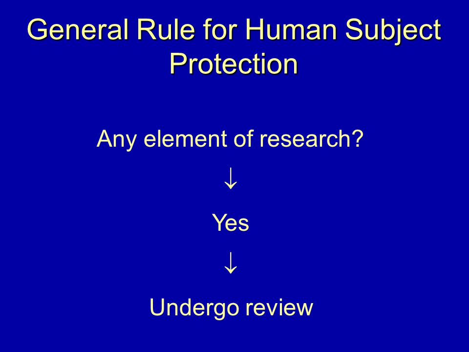 General Rule for Human Subject Protection