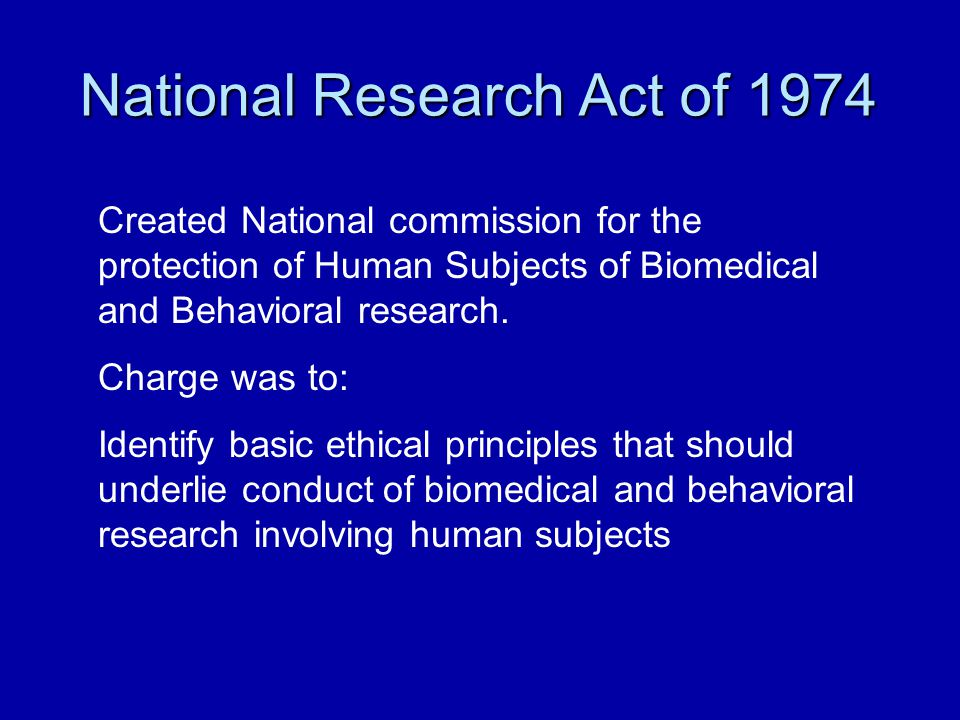 National Research Act of 1974