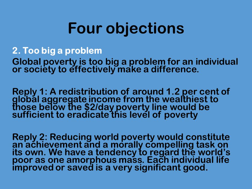 the singer solution to world poverty response essay Response essay on the singer solution to world poverty october 7, 2018.