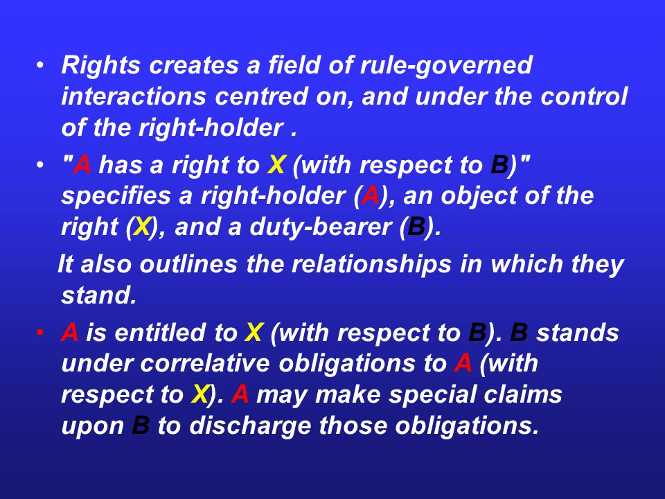 Rights creates a field of rule-governed interactions centred on, and under the control of the right-holder .
