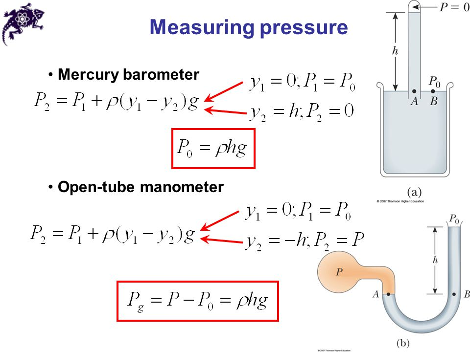 Measuring pressure Mercury barometer Open-tube manometer