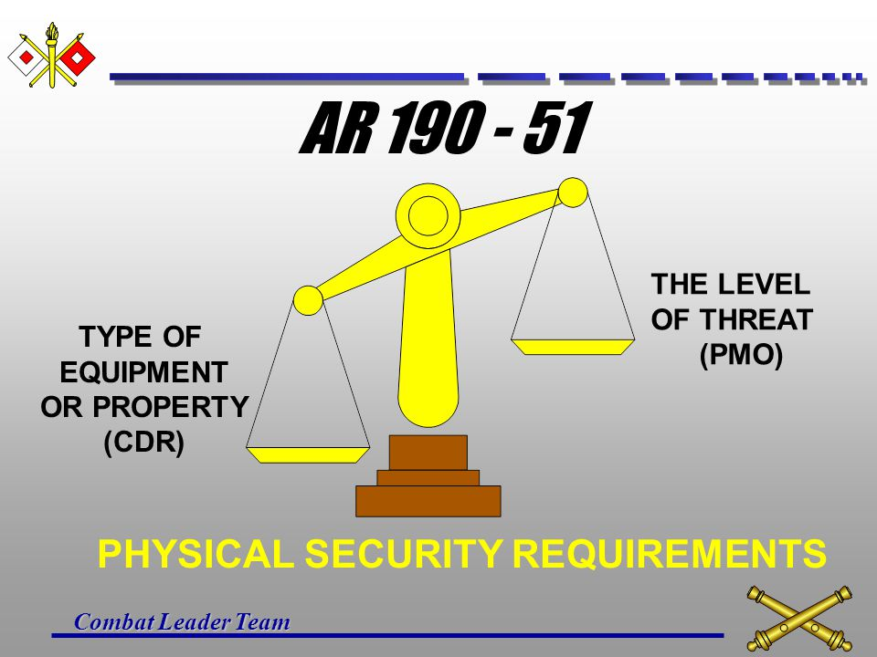 AR PHYSICAL SECURITY REQUIREMENTS THE LEVEL OF THREAT (PMO)