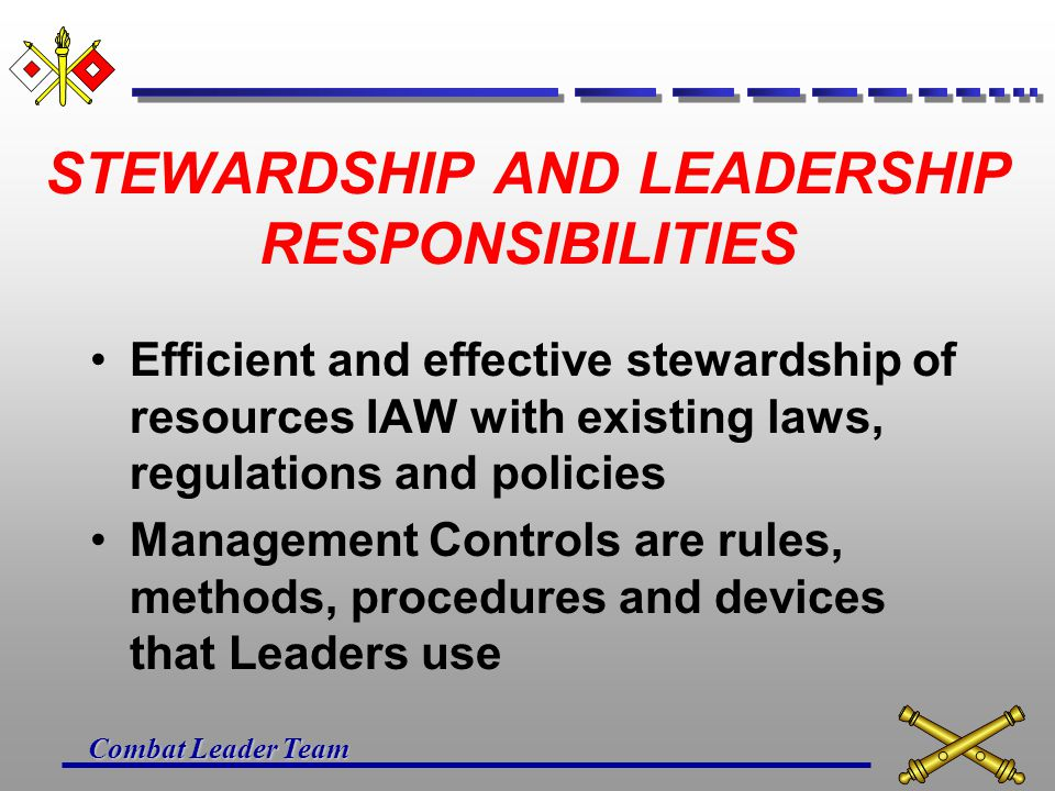 STEWARDSHIP AND LEADERSHIP RESPONSIBILITIES