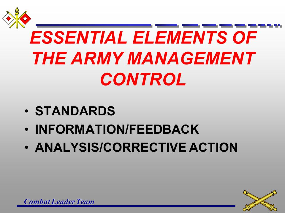 ESSENTIAL ELEMENTS OF THE ARMY MANAGEMENT CONTROL