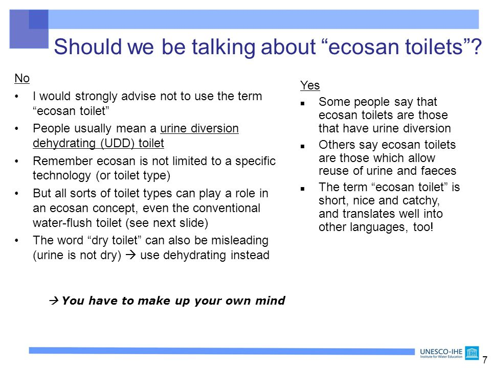 Overview of technologies for ecosan (toilets and treatment) - ppt ...
