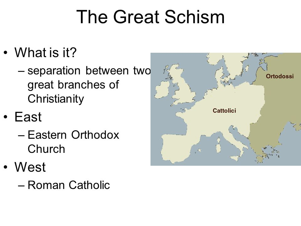 The Great Schism What is it East West