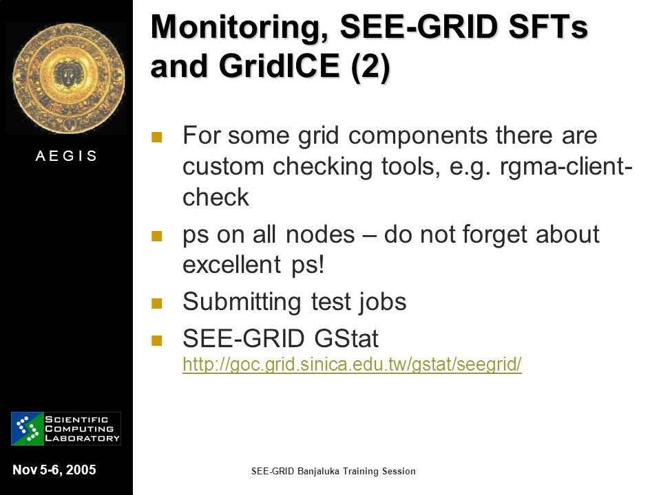 Monitoring, SEE-GRID SFTs and GridICE (2)