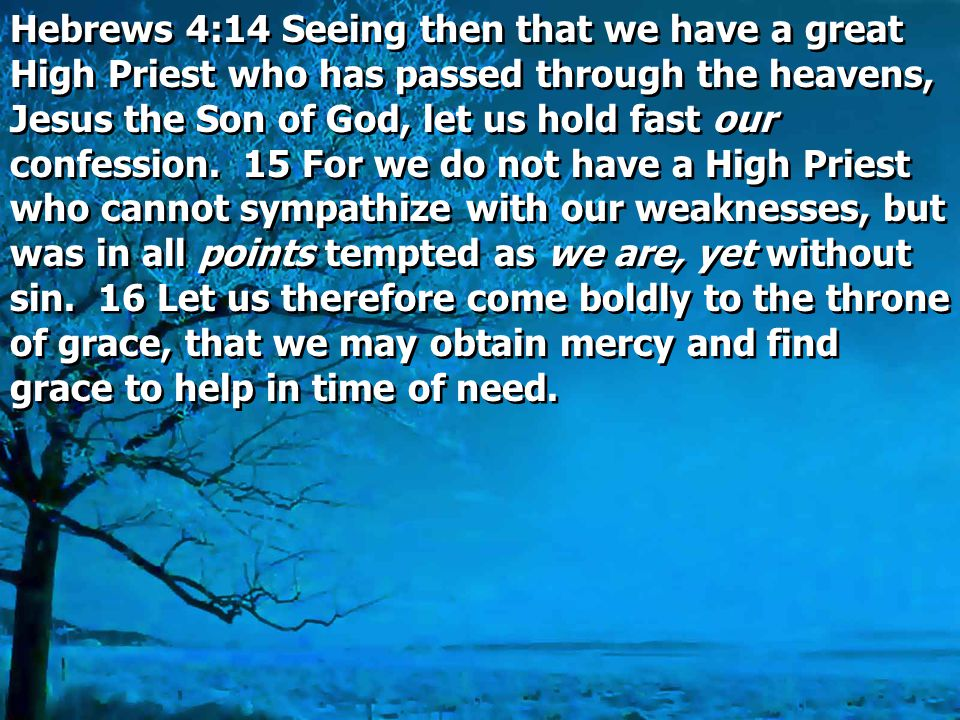 Hebrews 4:14 Seeing then that we have a great High Priest who has passed through the heavens, Jesus the Son of God, let us hold fast our confession.