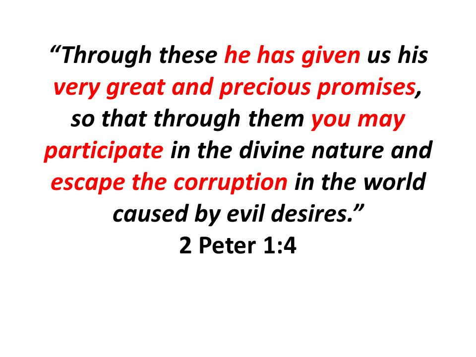 Through these he has given us his very great and precious promises, so that through them you may participate in the divine nature and escape the corruption in the world caused by evil desires. 2 Peter 1:4