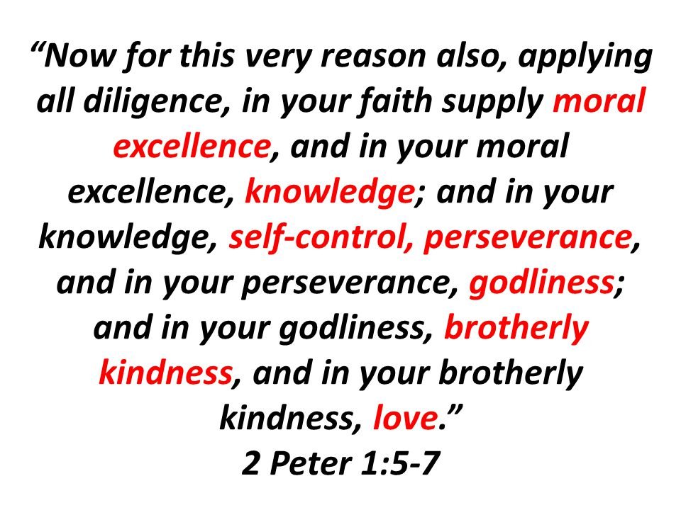 Now for this very reason also, applying all diligence, in your faith supply moral excellence, and in your moral excellence, knowledge; and in your knowledge, self-control, perseverance, and in your perseverance, godliness; and in your godliness, brotherly kindness, and in your brotherly kindness, love. 2 Peter 1:5-7