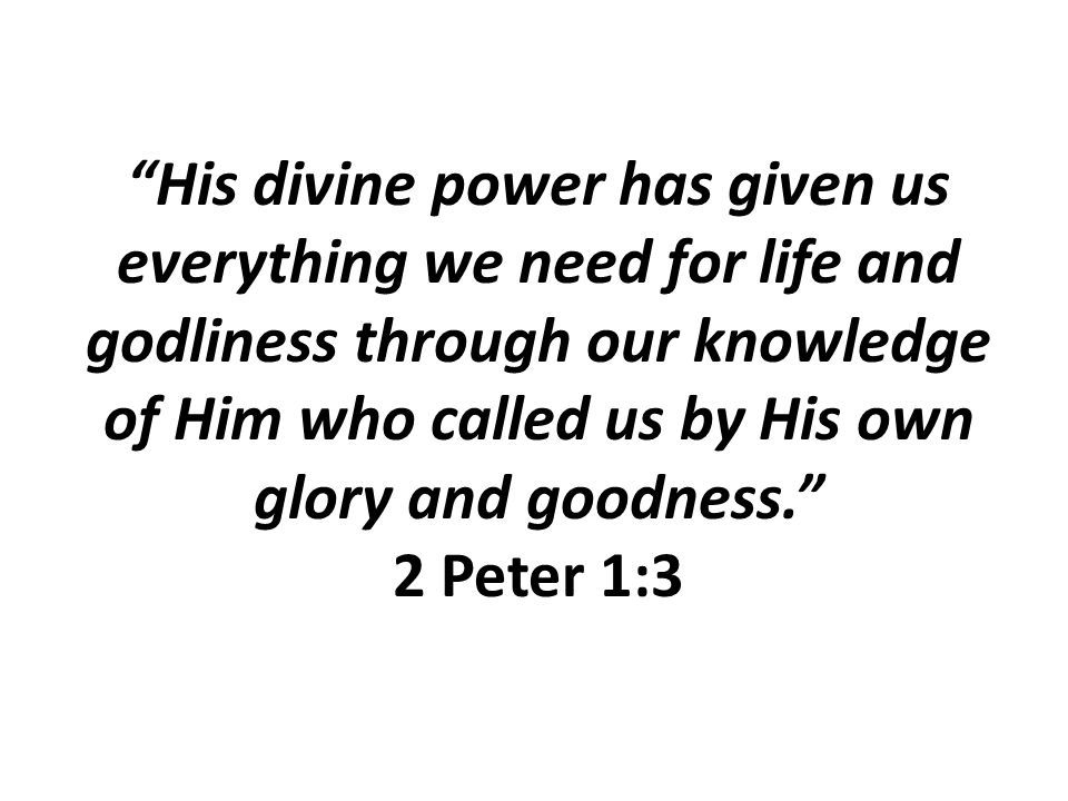 His divine power has given us everything we need for life and godliness through our knowledge of Him who called us by His own glory and goodness. 2 Peter 1:3