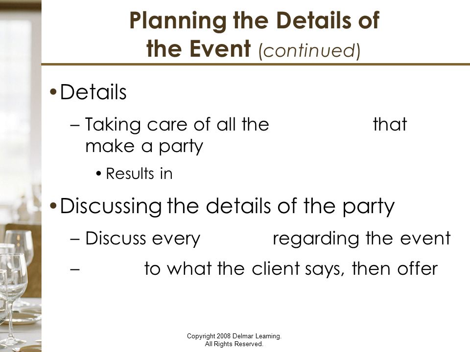Planning the Details of the Event (continued)