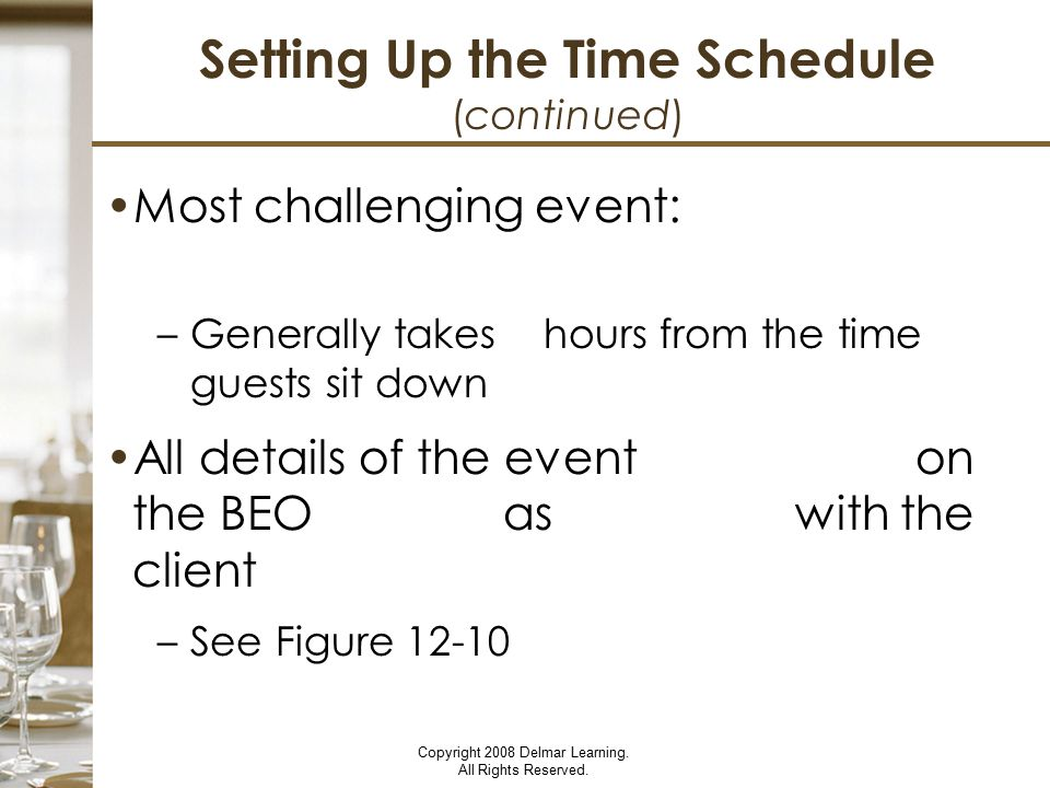Setting Up the Time Schedule (continued)