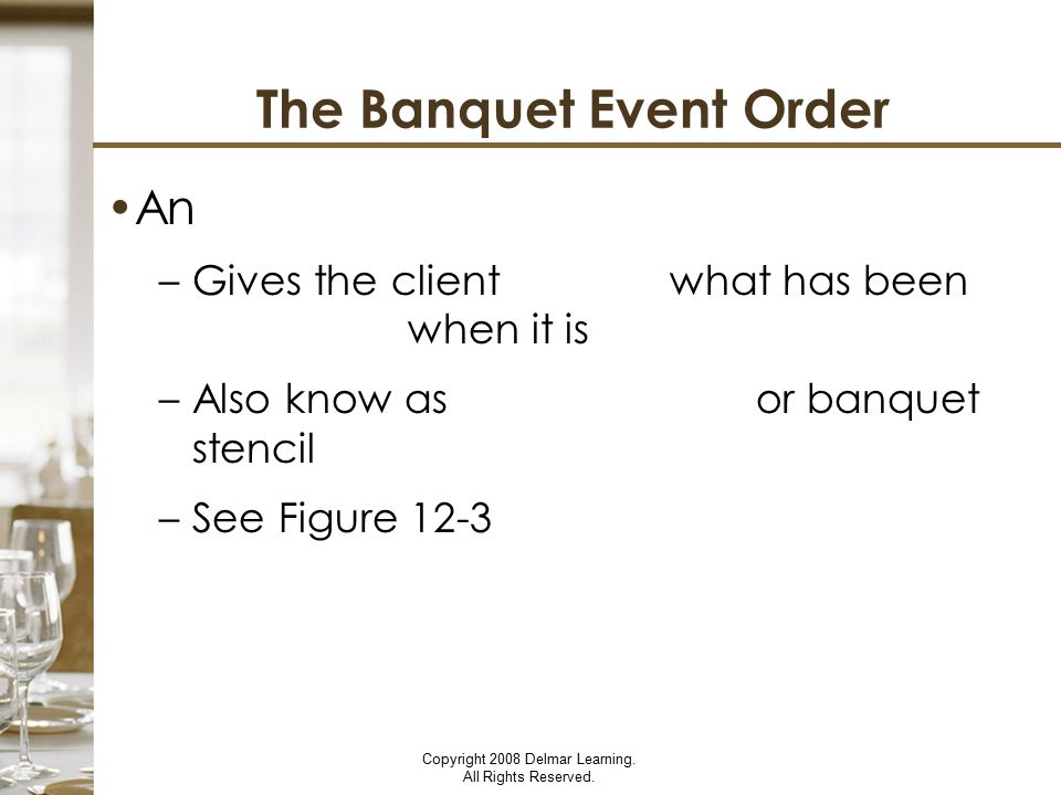 The Banquet Event Order
