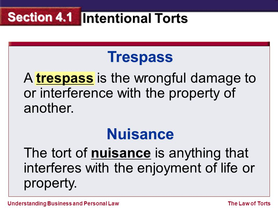Trespass A trespass is the wrongful damage to or interference with the property of another. Nuisance.
