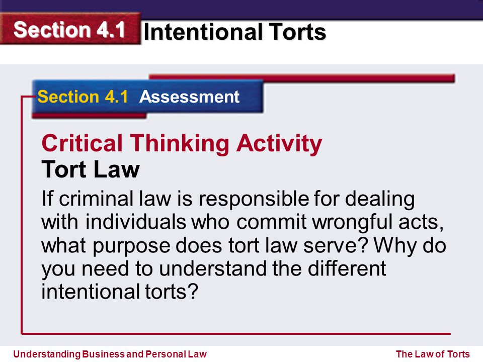 Critical Thinking Activity Tort Law
