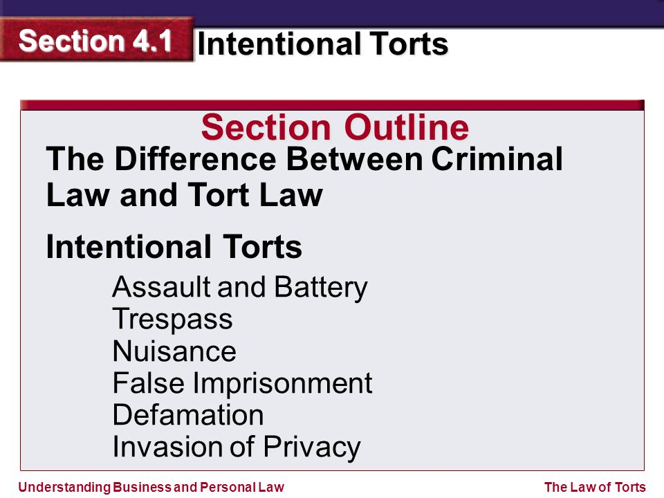 Section Outline The Difference Between Criminal Law and Tort Law