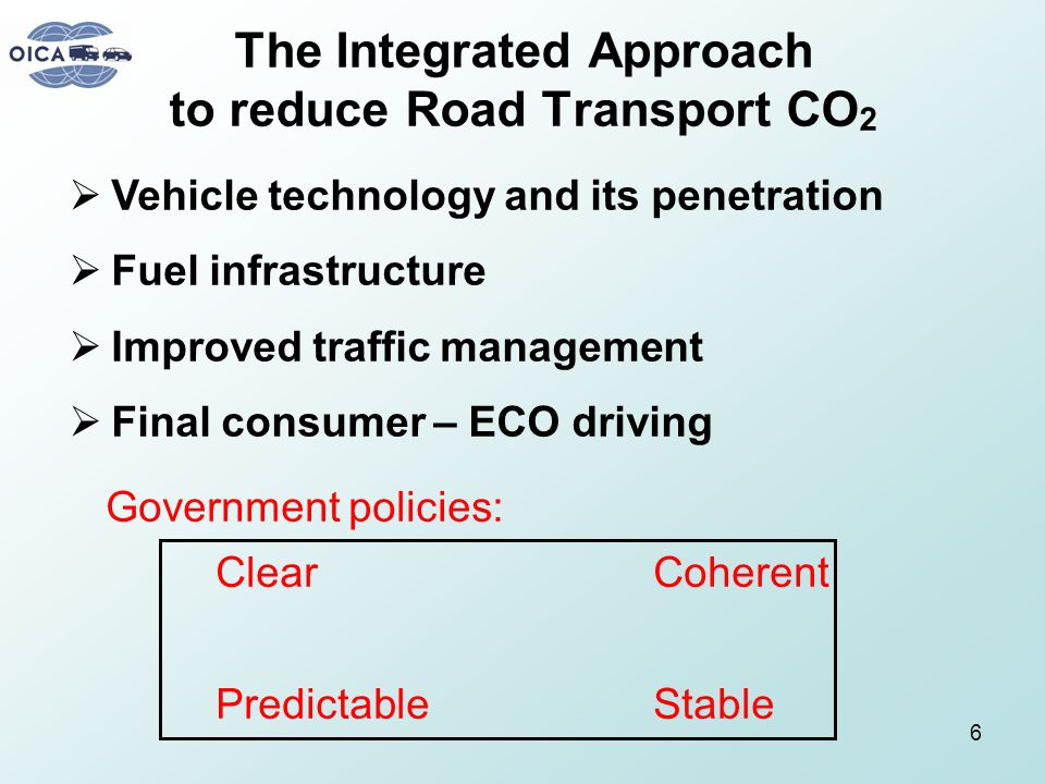The Integrated Approach to reduce Road Transport CO2
