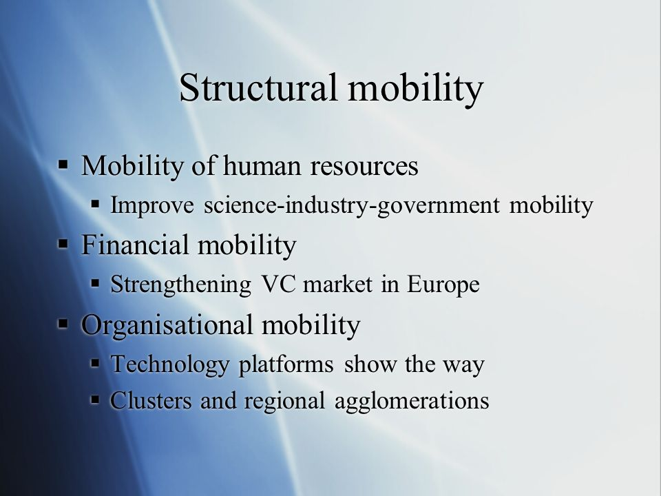 Structural mobility Mobility of human resources Financial mobility