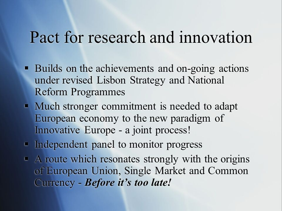 Pact for research and innovation