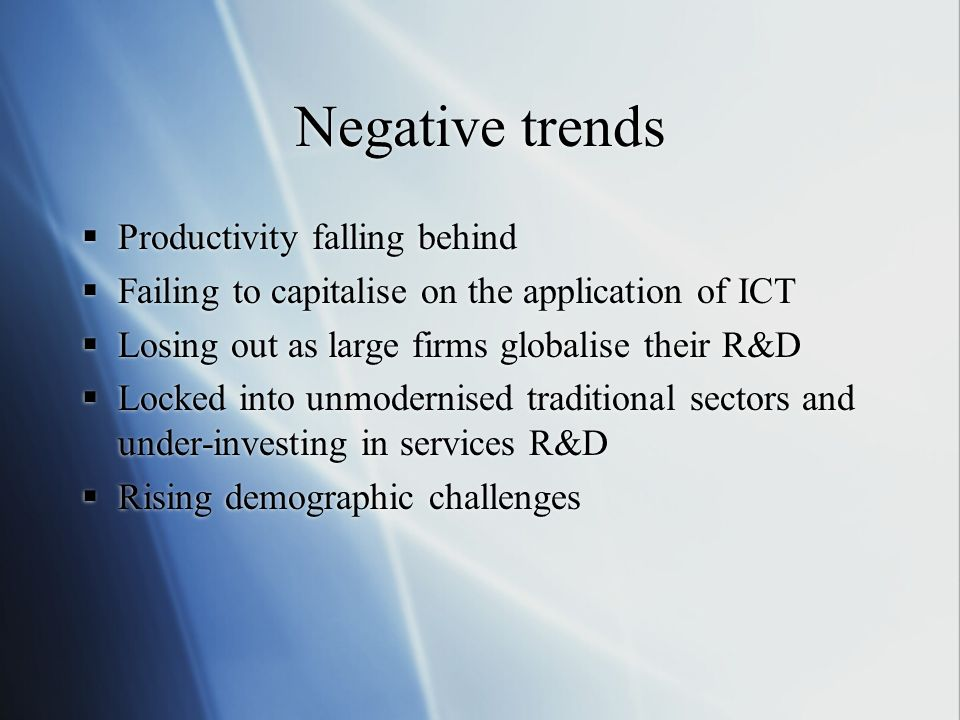 Negative trends Productivity falling behind