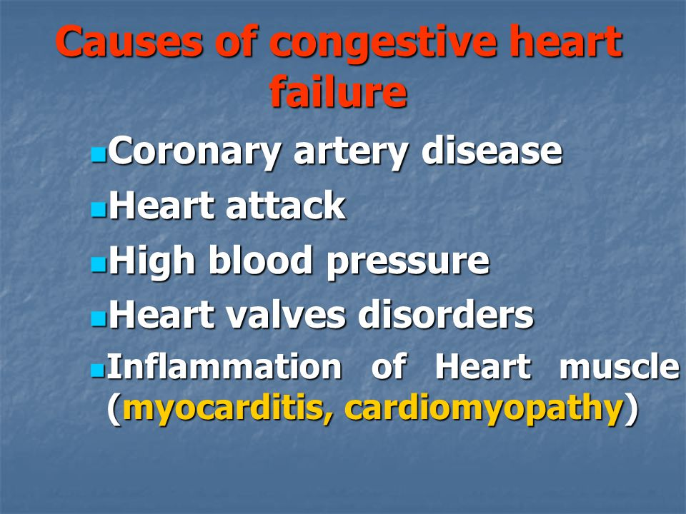 Causes of congestive heart failure
