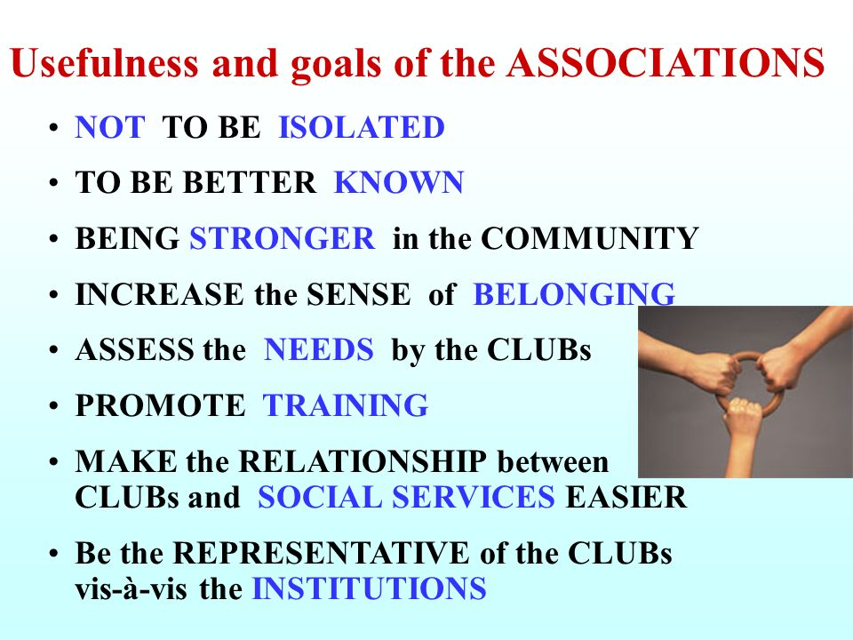 Usefulness and goals of the ASSOCIATIONS