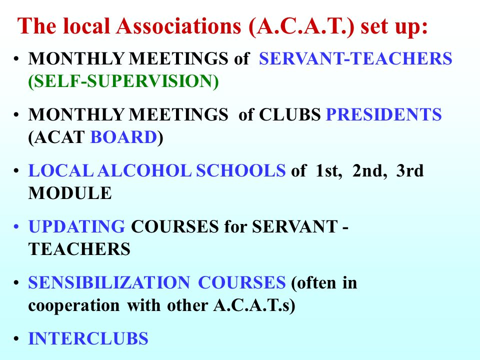 The local Associations (A.C.A.T.) set up: