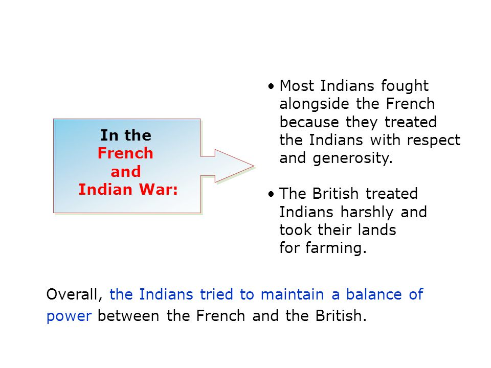 In the French and Indian War: