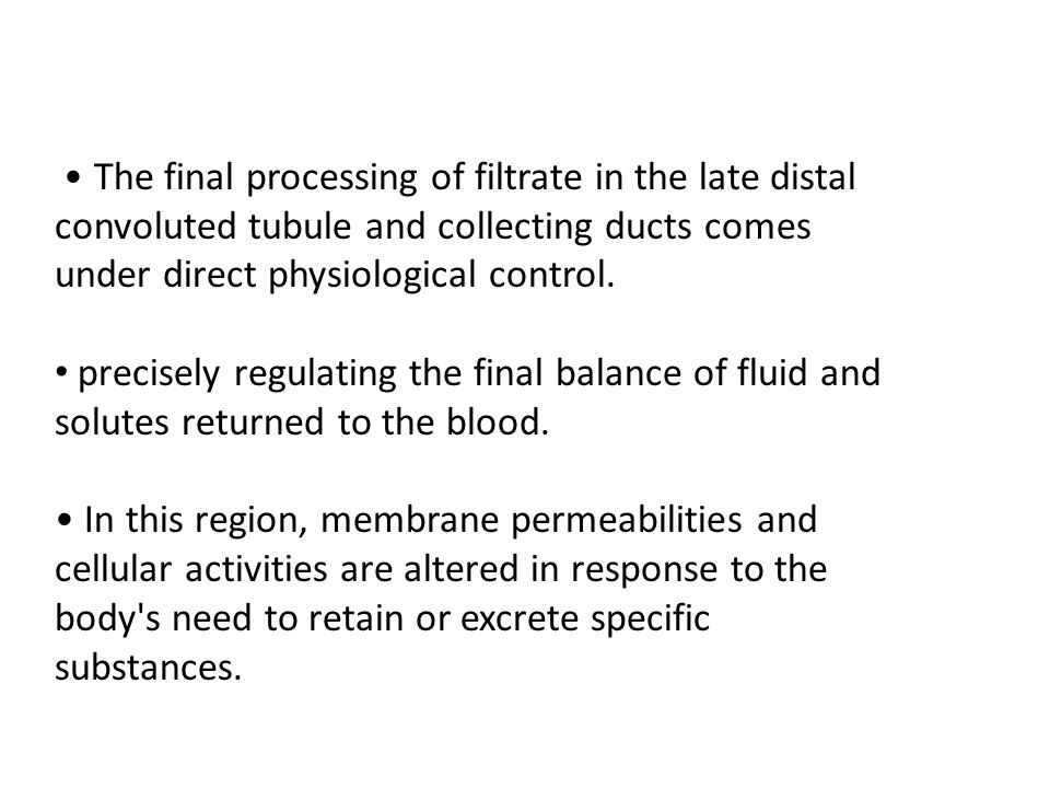 • The final processing of filtrate in the late distal convoluted tubule and collecting ducts comes under direct physiological control.