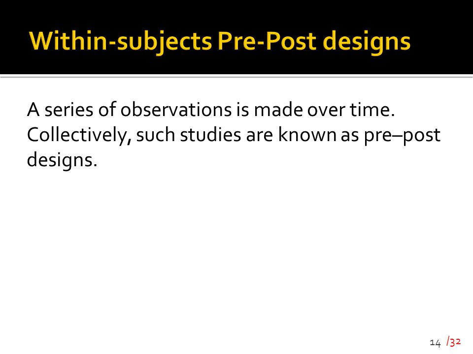 Within-subjects Pre-Post designs