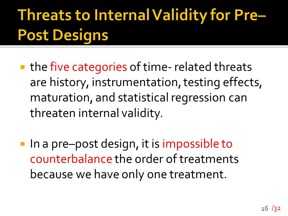 Threats to Internal Validity for Pre– Post Designs