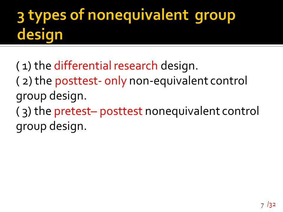3 types of nonequivalent group design