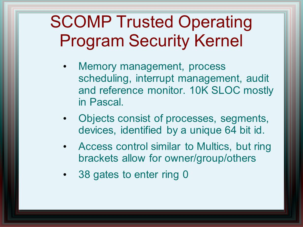 SCOMP Trusted Operating Program Security Kernel