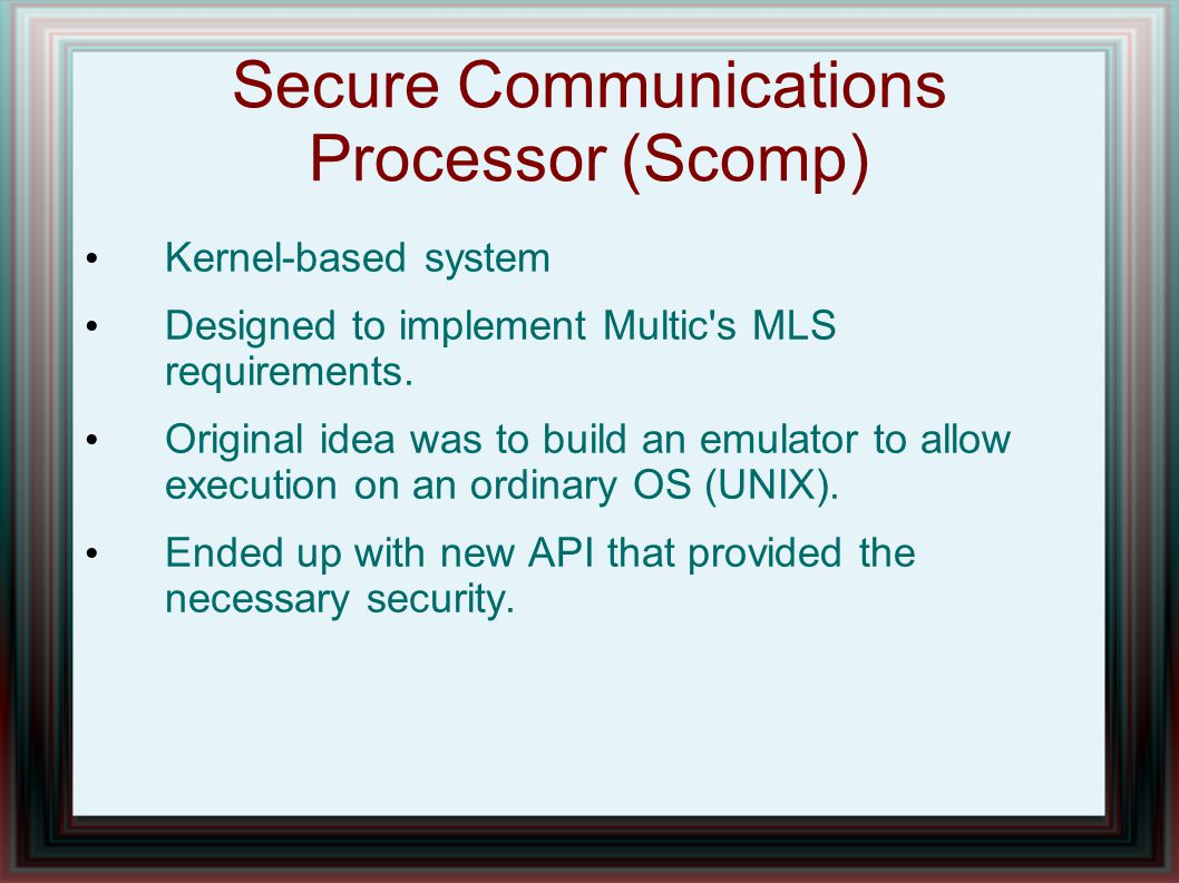 Secure Communications Processor (Scomp)