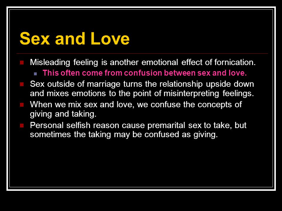 Emotions that come with sex