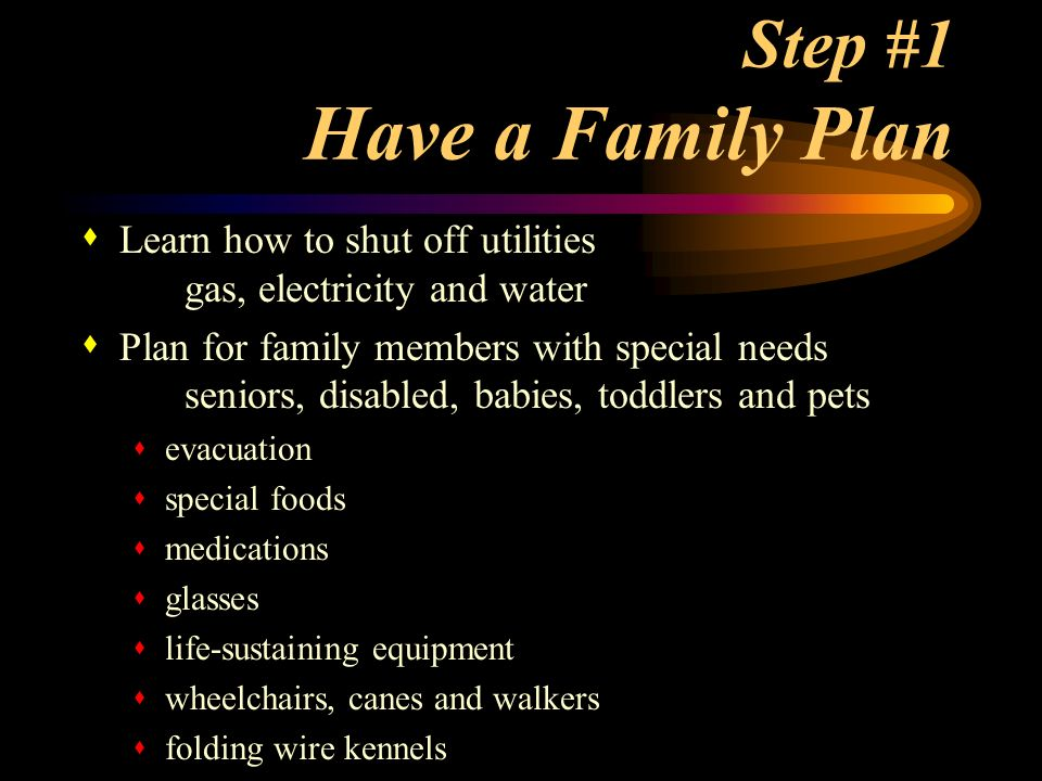 Step #1 Have a Family Plan