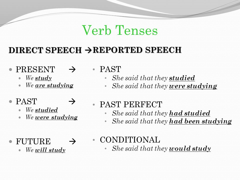 Verb Tenses REPORTED SPEECH DIRECT SPEECH  PAST PRESENT 