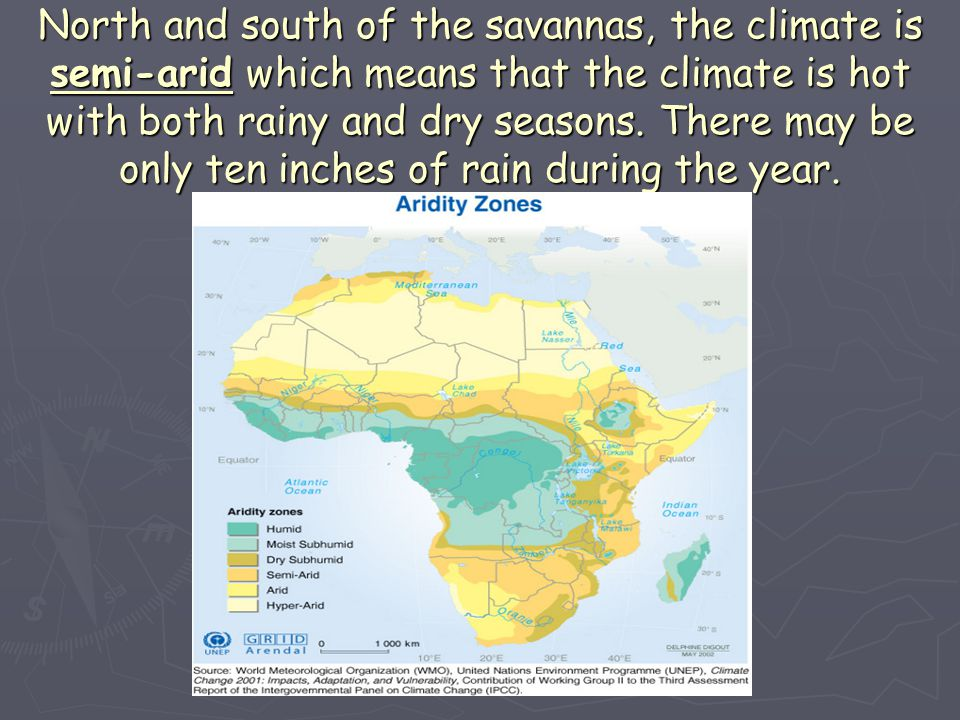 North and south of the savannas, the climate is semi-arid which means that the climate is hot with both rainy and dry seasons.