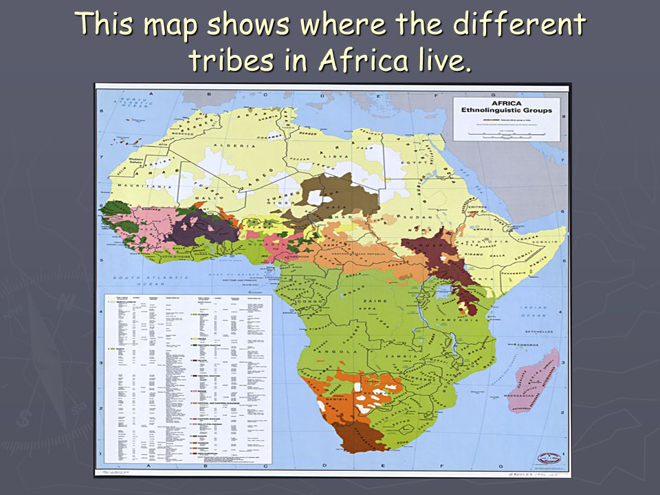 This map shows where the different tribes in Africa live.