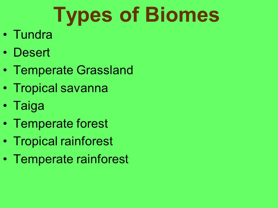 Types of Biomes Tundra Desert Temperate Grassland Tropical savanna