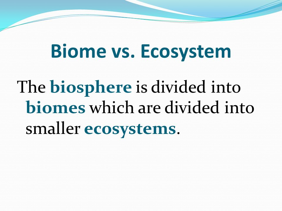 Biome vs. Ecosystem The biosphere is divided into biomes which are divided into smaller ecosystems.
