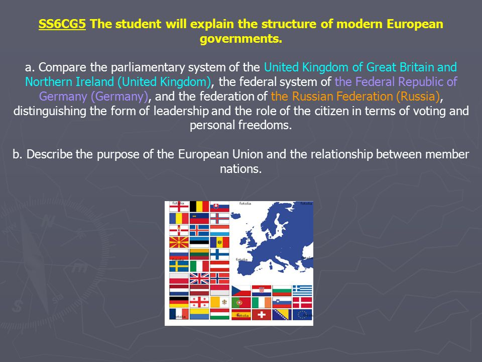 SS6CG5 The student will explain the structure of modern European governments.