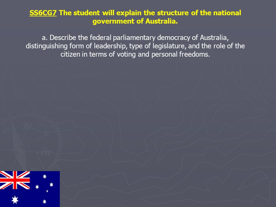 SS6CG7 The student will explain the structure of the national government of Australia.