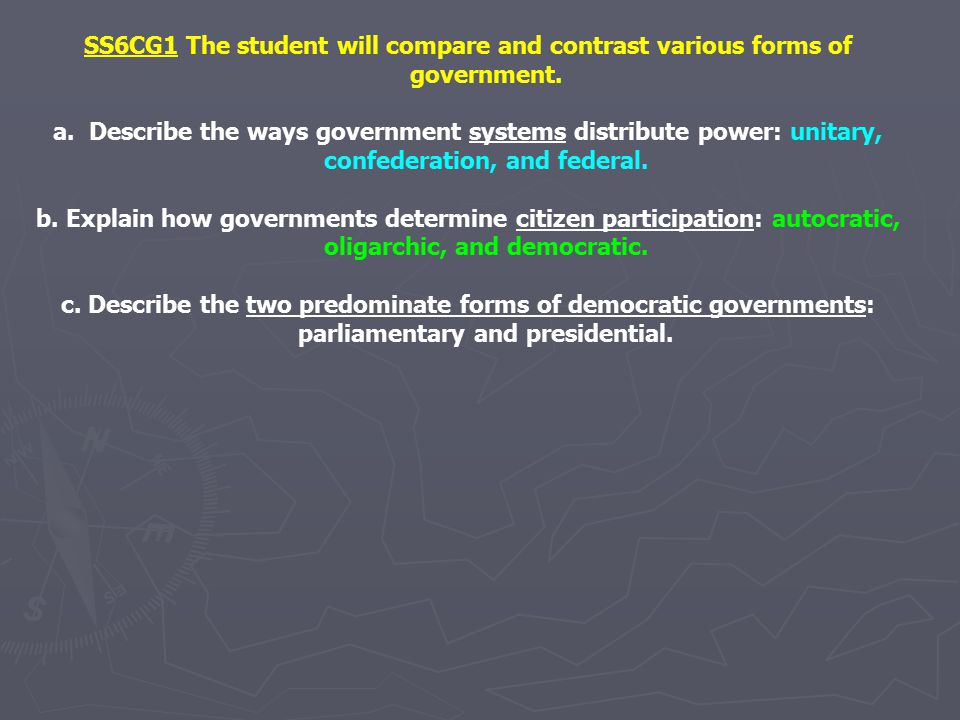 SS6CG1 The student will compare and contrast various forms of government.
