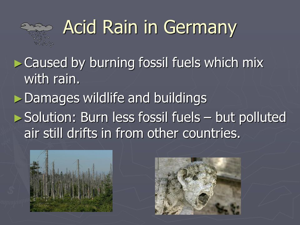 Acid Rain in Germany Caused by burning fossil fuels which mix with rain. Damages wildlife and buildings.