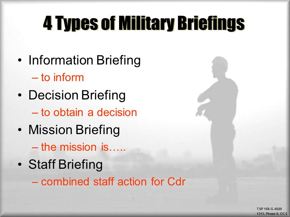 4 Types Of Military Briefings