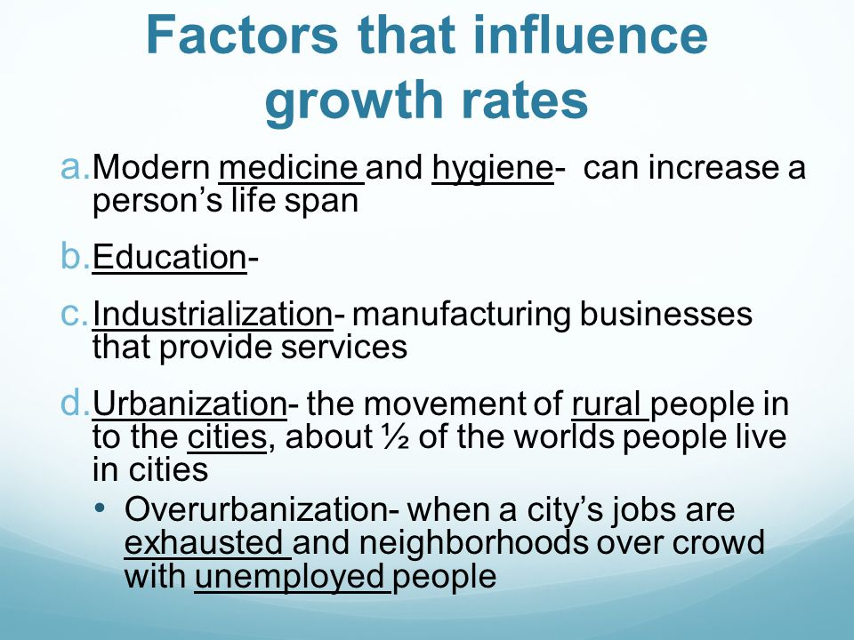 Factors that influence growth rates