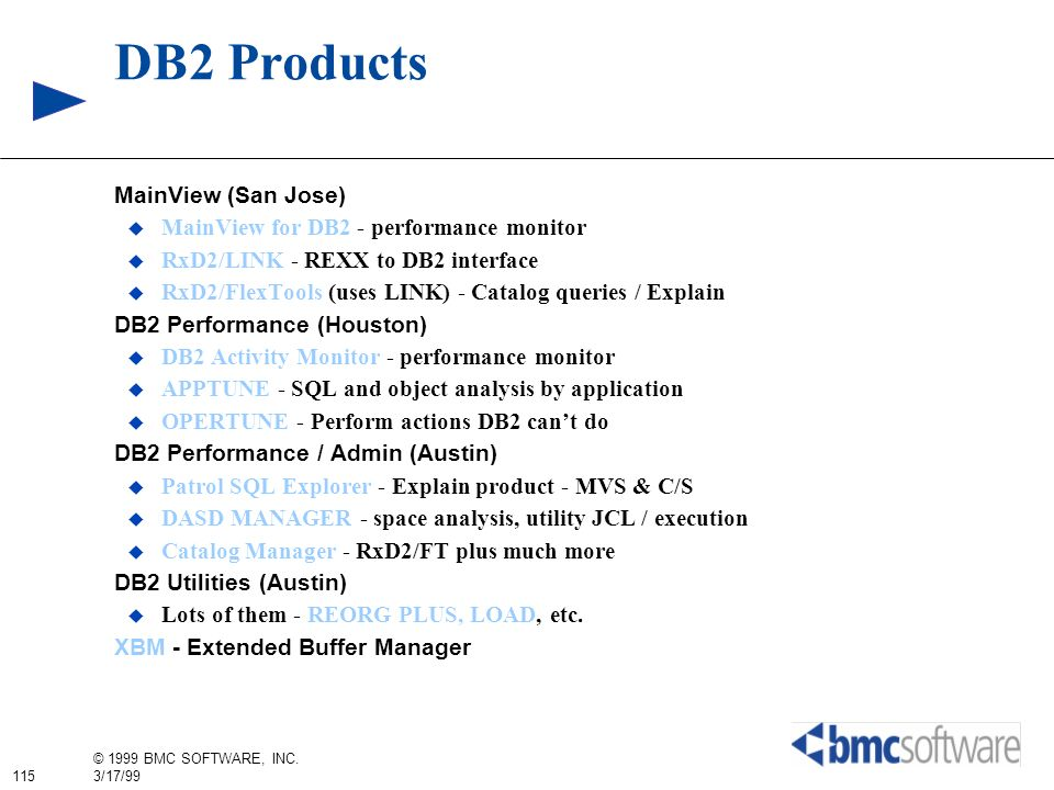 DB2 Products MainView (San Jose)