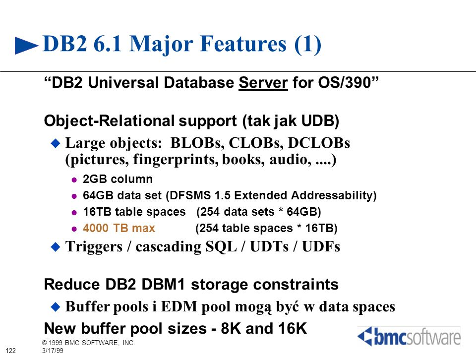 DB2 6.1 Major Features (1) DB2 Universal Database Server for OS/390